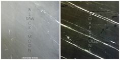Deep matte Black Moon soapstone, oiled vs raw. Quarried in India. Very hard variety.