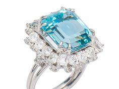 Polar Frolic - Aquamarine Diamond Ring - The Three Graces