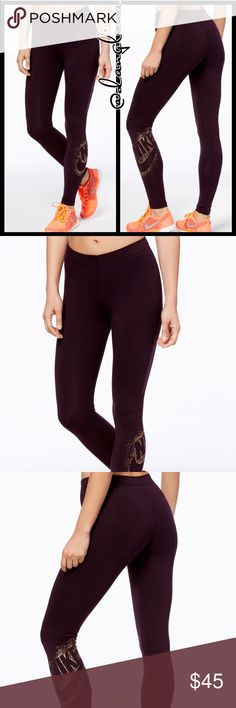 Gold metallic Nike leggings Brand new with tags  Authentic Please know your sizing in Nike items before purchasing Port wine color- deep burgundy  God metallic Nike logo at left calf Elastic waist band  Skinny leggings  Cotton/polyester/spandex Dri-fit wicking technology helps evaporate moisture  Available In black on a separate listing Matching sweater available on separate listing Nike Pants Leggings