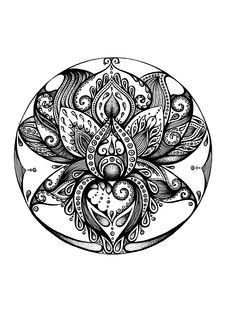 Mandalas Drawing, Zentangle, Adult Coloring Pages, Coloring Books, Art Chakra, Tattoo Painting, Tattoo Brazo, Flower Art, Tattoos