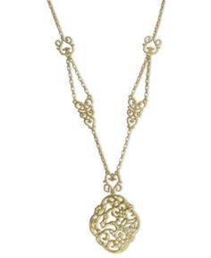 Jessica Simpson Necklace, Gold Tone Lady Chic Pendant Necklace - Fashion Necklaces - Jewelry & Watches - Macy's $55