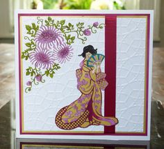 'Lady' and 'Chrysanthemum' - Oriental Dies. Visit tatteredlace.co.uk for available stockists. Xmas Cards, Diy Cards, Greeting Cards, Handmade Cards, Asian Crafts, Art Deco Cards, Tattered Lace Cards, Native American Art, Scrapbook Cards