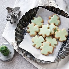 shamrock cookies : Recipe adapted from The Pastry Queen by Rebecca Rather. Technique inspired by Dorie Greenspan.