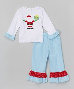 Love this White Santa Tee & Turquoise Ruffle Pants - Toddler & Girls by Petite Palace on Holiday Outfits, Holiday Clothes, Sewing Machine Embroidery, Ruffle Pants, Beautiful Outfits, Pajama Pants, Rompers, Sweatpants, Turquoise