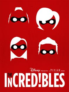 "cookthechef: "" kimoth3rapy: "" The Incredibles Homework. Vector only poster re-design of one of our favorite movies, only allowed to use 3 colors. 2 hrs. "" Favorite Pixar movie """