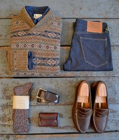 independencechicago:  Howlin' King Tubby Sweater 8.15 Navy Oxford Shirt Rising Sun Straight Razor Denim Howlin Spooky Socks Oak Street Bootmakers Belt Makr Flap Wallet Oak Street Bootmakers Beefroll Penny Loafer