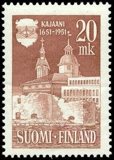 Postage stamp celebrating 300th anniversary of the city of Kajaani, Finland. 1951.