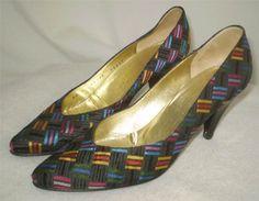 Vintage Bruno Magli Pumps Black Basketweave Fabric with Colors Cone Heel 6.5 AA #BrunoMagli #PumpsClassics