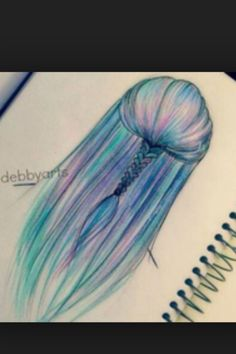 Hair Art, Drawing by debbyarts Arte do cabelo, Desenho por debbyarts Tumblr Drawings, Cool Art Drawings, Amazing Drawings, Beautiful Drawings, Art Drawings Sketches, Easy Drawings, Amazing Art, Beautiful Beautiful, Awesome