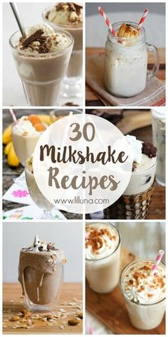 A collection of 30 milkshake recipes that you NEED to try! See it on { lilluna.com }! Homemade Milkshake, Healthy Milkshake, Oreo Milkshake, Chocolate Milkshake, Easy Milkshake Recipe, Hot Chocolate, Smoothies, Fruit Smoothie Recipes, Smoothie Drinks