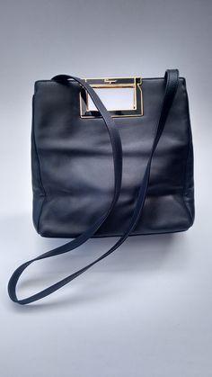 0d8c267bca54 Sale! FERRAGAMO Bag. Salvatore Ferragamo Vintage Navy Leather Shoulder Bag.  Italian designer purse.