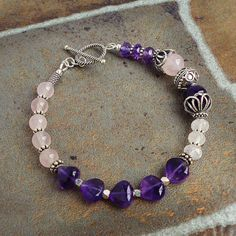 Rose Quartz and Amethyst Bracelet in Sterling by mamisgemstudio, $69.95