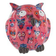 Pomme Pidou Owl Animal Money Bank - Pink