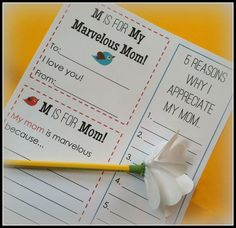 M is for Mom: Free Mother's Day printable