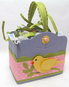 Cute little Easter basket using Two Tags die from Stampin' Up.