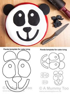 Panda bear cake 2 round cakes and cupcakes for the ears for Panda bear cake template