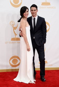 #emmyfashion Actress Julianna Margulies (L) and Keith Lieberthal arrive at the 65th Annual Primetime Emmy Awards held at Nokia Theatre L.A. Live on September 22, 2013 in Los Angeles, California.