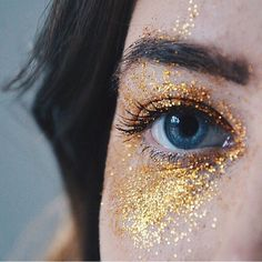 eyes, gold, and glitter image