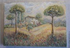 """Пейзаж ручной работы. Ярмарка Мастеров - ручная работа. Купить """"Прованс"""" Фреска. Handmade. Разноцветный, фреска, акриловые краски"""