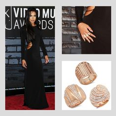 Actress Naya Rivera wearing 3 Demarco rings to the 2013 MTV Video Music Awards at the Barclays Center on August 25, 2013 in the Brooklyn borough of New York City.