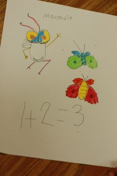 This is a fun activity for math. First, I taught the children how to draw Fly Guy. He is a very simple figure to draw. Next, I had the children draw bugs with Fly Guy. They had to write a math sentence to go with their drawing. The room was a peaceful quiet as they …