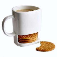 Cute ceramic mug with biscuit holder! $14.99 http://coolkitchengadgets.net/ceramic-cookies-mug-biscuit-holder/ #cup #ceramic #mug #biscuit #cookies #kitchen #gadgets