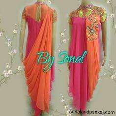 Pink And Peach Drape Kurti - Indian Attire, Indian Wear, Indian Style, Kurta Designs, Blouse Designs, Indian Dresses, Indian Outfits, Draped Dress, Dress Up