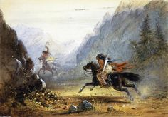 Snake Indian Pursuing a Crow Horse Thief, by Alfred Jacob Miller -kK watercolor over and under graphite with gum arabic additions on paper. Location: Museum of Fine Arts, Boston, Massachusetts. American Indian Art, Native American Indians, Jacob Miller, Horse Thief, A4 Poster, Poster Prints, Mountain Man, Vintage Artwork, Museum Of Fine Arts