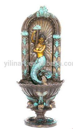 Bronze Mermaid Wall Fountain www.mermaidgardenornaments.com