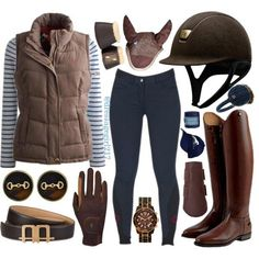 """""""Navy and Brown"""" by dressagegirl217 on Polyvore #EquestrianApparel"""