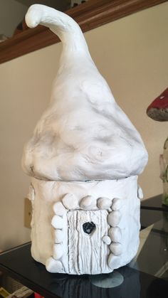 Make a fairy house out of an old bath and body works 3 wick candle jar. Use air dry clay (I used das) and some aluminum foil for filler as needed. Then paint it! Great way to use up those jars!