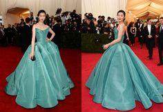 Liu Wen 2014 meta gala Zac Posen gown