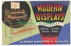 GREAT DECO LINEN POSTCARD - MODERN DISPLAYS Wire Rack BRUNHOFF MFG Cincinnati OH 1941