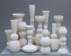 white ceramic vase vessel by Tony Marsh