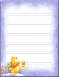 """""""Tell A Story"""": Winnie the pooh from """"Winnie the Pooh"""", as courtesy of Disney Printable Lined Paper, Free Printable Stationery, Cute Stationery, Stationery Paper, Disney Writing, Winnie The Pooh Christmas, Disney Printables, Writing Paper, Note Paper"""