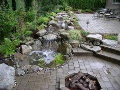 diseo moderno estanques cascadas fuentes terraza jardines madera corriente patio trasero patio trasero