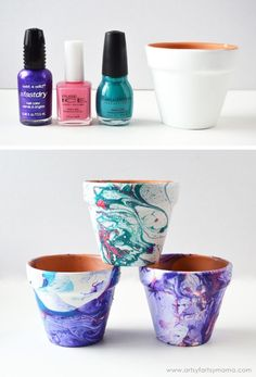 Marbled Flower Pots Tutorial at artsyfartsymama.com