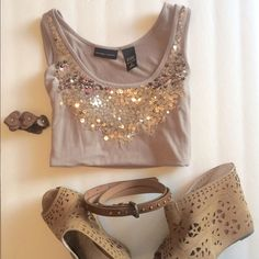 Sparkle top  Tank top reads size Small but fits like a Medium. The sparkle makes the shirt perfect for a night out on the town or a casual gathering. Flirty, fun and just the perfect pop of glimmer.  *** I do bundled deals *** New York & Company Tops