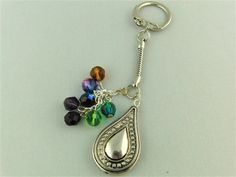 Silver Tear Drop Charm and Multi Coloured Crystal Bead Key Ring £5.00