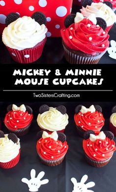 These Mickey & Minnie Mouse Cupcakes will be a big hit at your Mickey Mouse Birthday Party. So adorable, so delicious and so easy to make. Click thru for more fun Mickey Mouse Party Ideas. Theme Mickey, Mickey Y Minnie, Mickey Mouse Parties, Mickey Birthday, Mickey Party, 2nd Birthday, Birthday Ideas, Disney Parties, Mickey Cupcakes