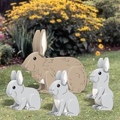 "3D Rabbit Patterns  Now you have something to build with all that scrap wood (2X6) you have piling up in the workshop. Feet designed to fit over a 1-1/2"" thick railing. Largest is 12""H x 14""W. Parts Req'd: Eyes (8) E-515. 4 Designs!  Pattern #2126  $11.95  ( crafting, crafts, woodcraft, pattern, woodworking, yard art, animal ) Pattern by Sherwood Creations"