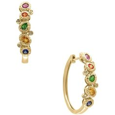 Effy Watercolor Diamonds, Sapphire, Tsavorite and 14K Yellow Gold Hoop... ($1,164) ❤ liked on Polyvore featuring jewelry, earrings, gold, diamond hoop earrings, 14k hoop earrings, hoop earrings, 14k diamond earrings and clip on earrings