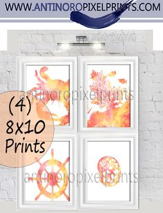 antinoropixelprints.com  Excited to share the latest addition to my #etsy shop: Watercolor Yellow Orange Coral Digital Illustration Bath / Beach House Prints Wall Art Sert of (4) - 8x10 Prints - (UNFRAMED) http://etsy.me/2EjN70O #art #illustration #print #artwork #wall