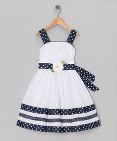 Sweet Heart Rose White & Navy Eyelet Dress - Girls Plus   zulily