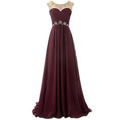 MicBridal® Weinrot Lang Chiffon Rückenlos Abendkleid Ballkleid mit Schleppe (32, Rosa)