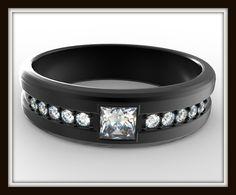 Black Gold Wedding Band For Men-Unique Diamond Ring Design