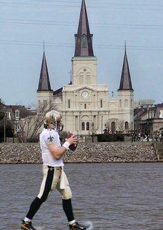 "Drew Brees ""walks on water"" in New Orleans!"