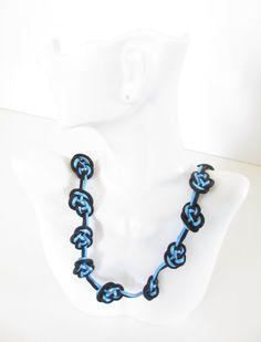Blue and Black  Knotted Necklace, Vintage 70s Knotted Knecklace, Silk Fiber Necklace