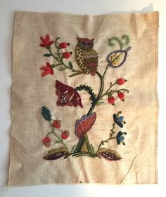 Vintage Completed Embroidery Owl Plants Nature Finished Crewel Needlework Stitchery Sampler Retro Home Decor Frameable Wall Art 1970s