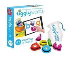 Tiggly Words educational toy for Tablets Tiggly Words Learning System is designed for children 4-8 years old. The System includes Tiggly Words toys that work wi
